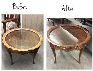 before after glass table